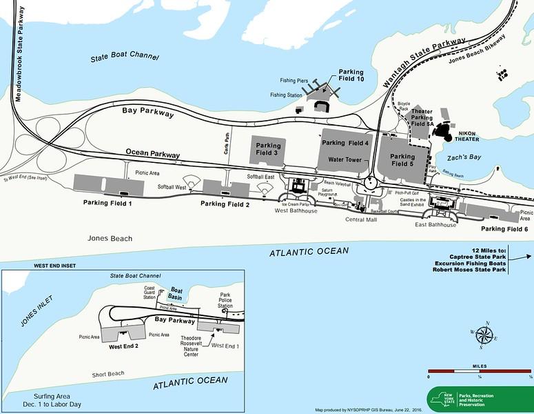 Jones Beach State Park (Parking Fields Map)