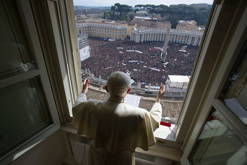 . Pope Benedict XVI leads his last Angelus prayer before stepping down in Saint Peter\'s Square at the Vatican February 24, 2013. REUTERS/Osservatore Romano