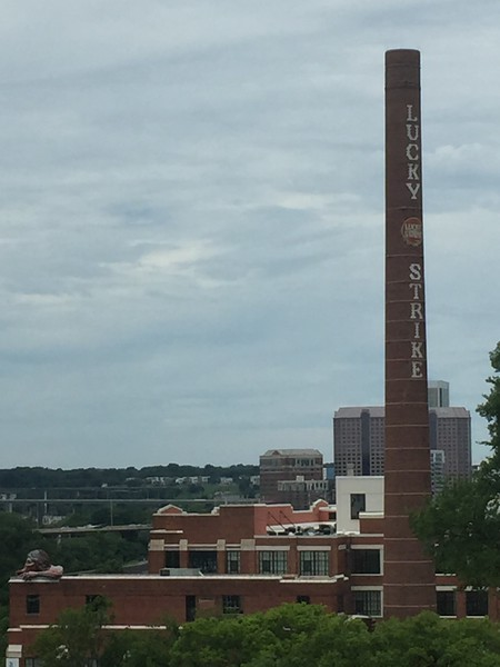 Former Lucky Strike tobacco plant. Across from Libby Park. The American Indian is looking out onto the James River.