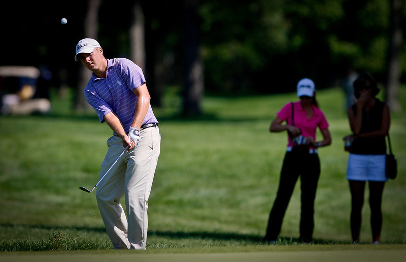 Jordan Spieth, 18, from Dallas, Texas, chips from the rough during his fourth round Thursday.