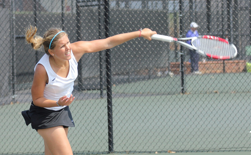 Junior Ioana Oprea plays against a Pfeiffer University opponent on March 19th, 2011.