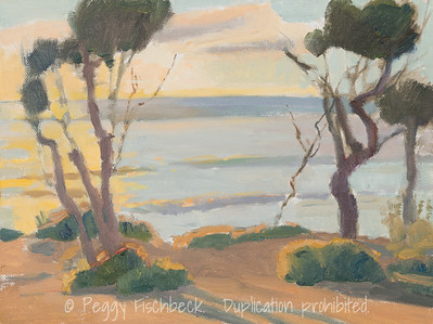 Sunset Cliffs at Ladera, 9x12, oil panel, plein air  G0656