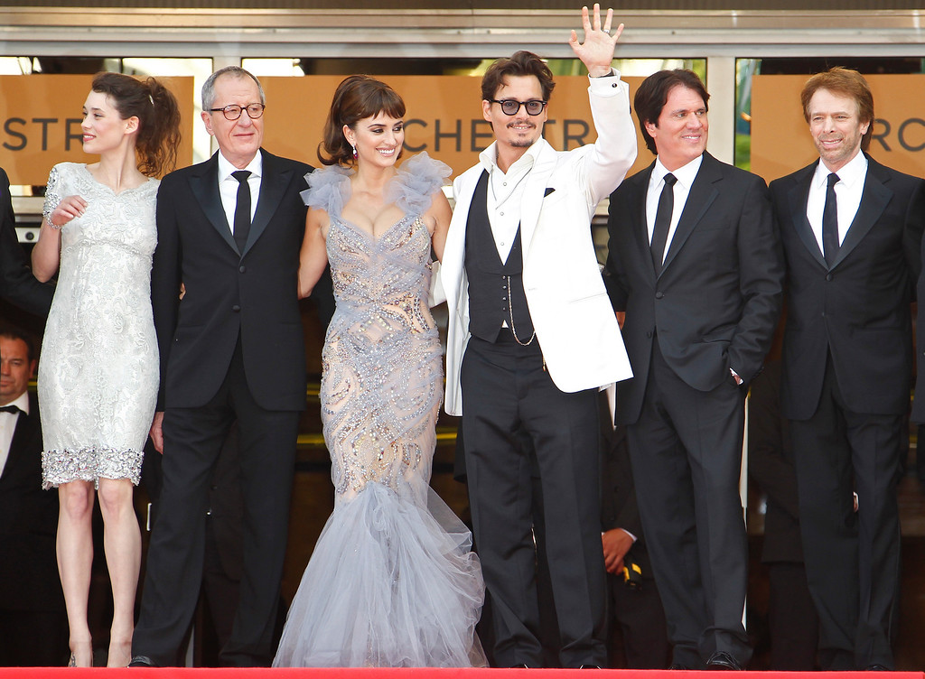 . (L-R) French actress Astrid Berges-Frisbey, Australian actor Geoffrey Rush, Spanish actress Penelope Cruz, US actor Johnny Depp, US director Rob Marshall and US producer Jerry Bruckheimer arrive for the screening of \'Pirates of the Caribbean: On Stranger Tides\' during the 64th Cannes Film Festival in Cannes, France, 14 May 2011. The movie by Rob Marshall is presented out of competition at the film festival, running from 11 to 22 May.  EPA/IAN LANGSDON