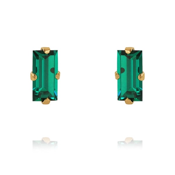 Baguette Earrings / Emerald Gold