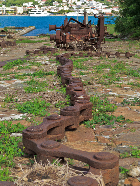 Chain at Creque Marine Railway, used to drag ships out of the water, into dry dock.  Hassel Island, St  Thomas