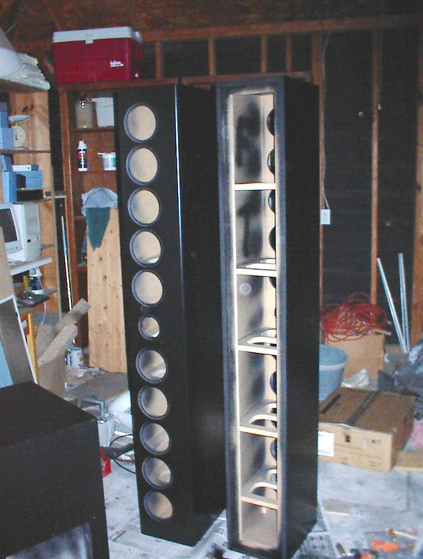 The enclosures after their first coat of satin black paint.