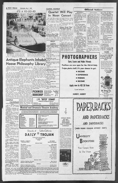 Daily Trojan, Vol. 54, No. 109, May 01, 1963