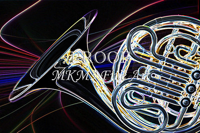 French Horn Dark Drawing Art Prints