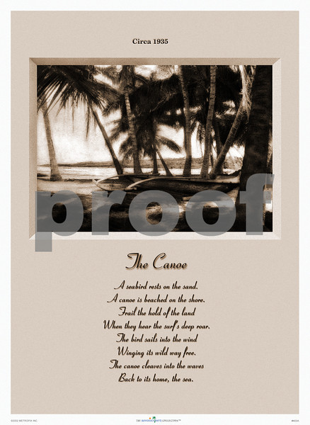 403: 'The Canoe' Sepia-toned photo and poem, ca. 1935 (PROOF watermark will not appear on your print)