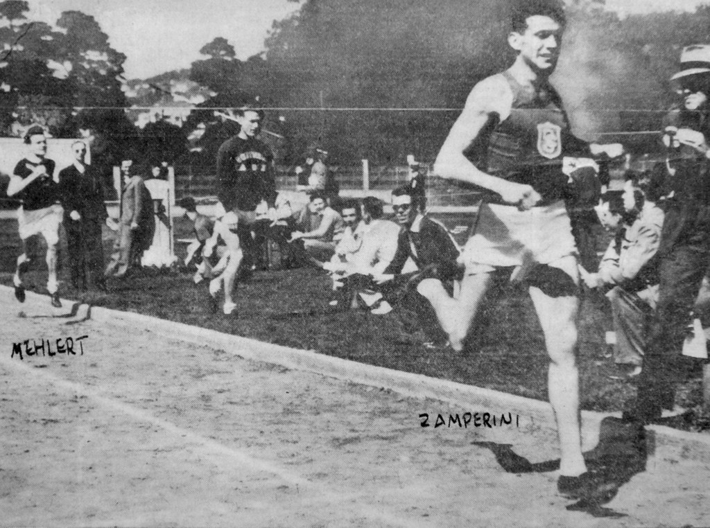 . NWS_Zamperini.1.0128.sv - photo: Scott Varley - As a USC Trojan, Louie Zamperini runs the mile race at Berkeley in this undated newspaper clipping. (Photo by Scott Varley/Daily Breeze)