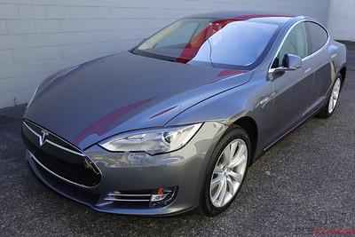 2014 Tesla Model S - Grey - Front End PPF and CQuartz Finest Reserve Ceramic Coating