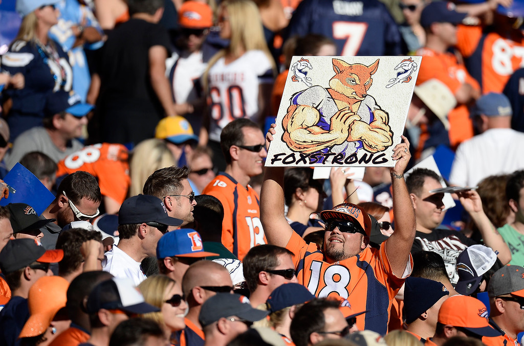 . Denver Broncos fans in full force in their game against the San Diego Chargers at Qualcomm Stadium. (Photo by John Leyba/The Denver Post)
