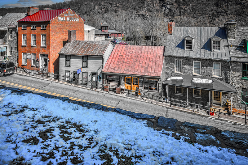 Harper's Ferry WV - Shops on High Street with Train Station in background.