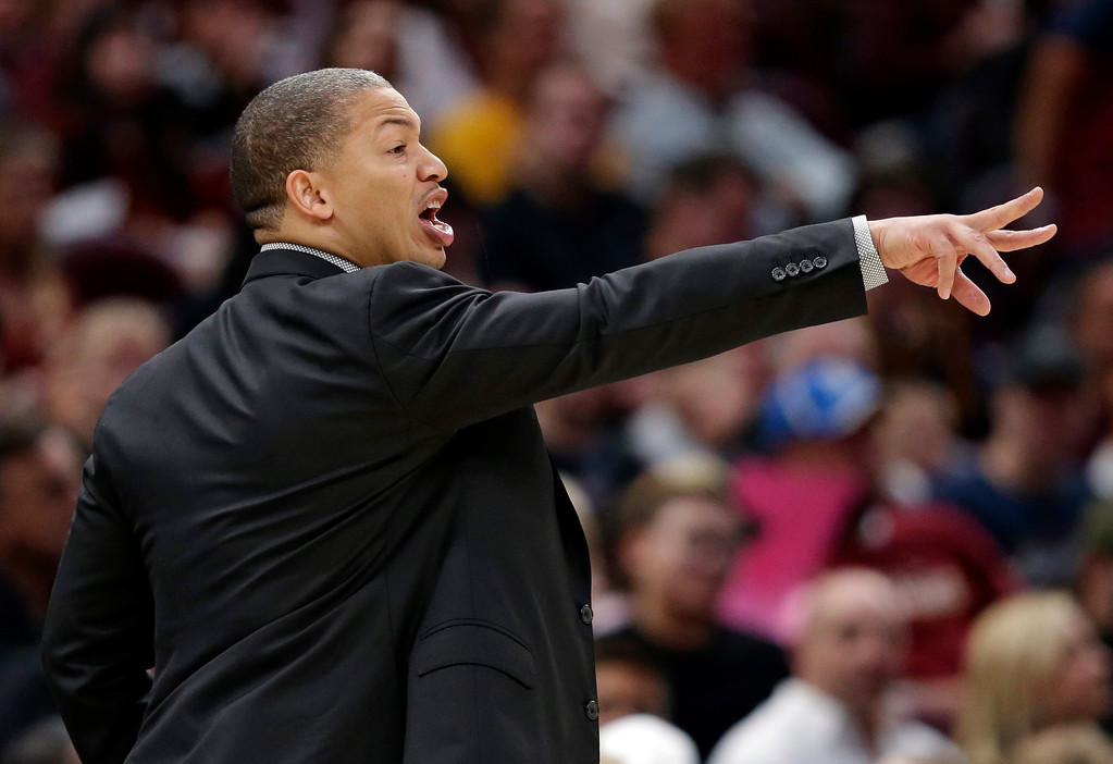 . Cleveland Cavaliers head coach Tyronn Lue yells to players in the second half of an NBA basketball game against the Orlando Magic, Saturday, Oct. 21, 2017, in Cleveland. (AP Photo/Tony Dejak)