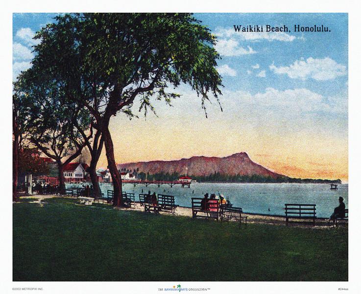 244: 'Waikiki Beach, Honolulu' Poster from 1920's handcolored Waikiki Beach postcard, showing Diamond Head.