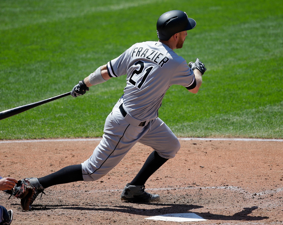 . Chicago White Sox\'s Todd Frazier watches his two-run double off Cleveland Indians starting pitcher Carlos Carrasco in the sixth inning of a baseball game, Sunday, June 11, 2017, in Cleveland. Jose Abreu and Avisail Garcia scored on the play. (AP Photo/Tony Dejak)