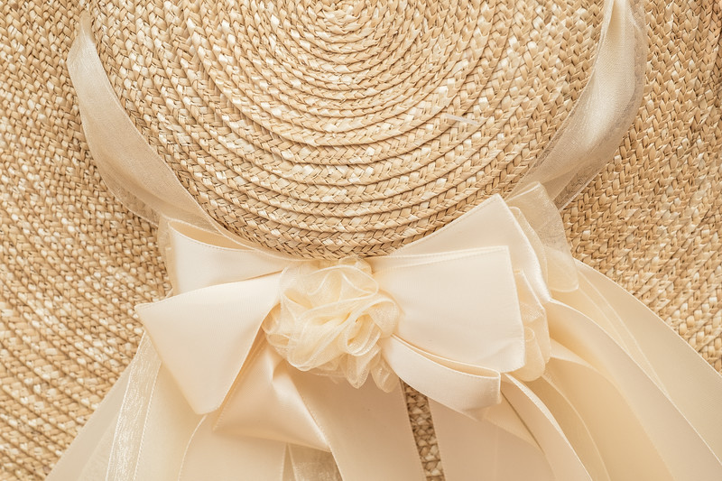 18th Century Style Colonial Hat and Ribbon detail in beige