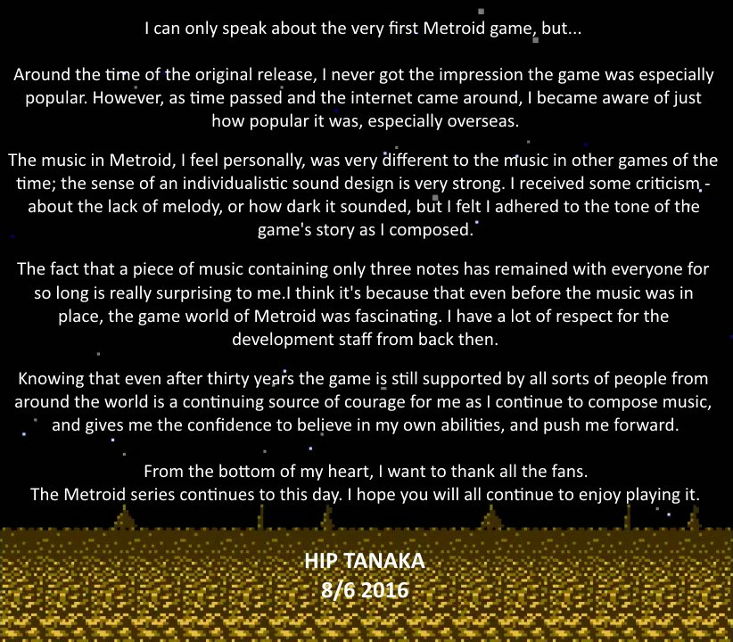 Hip Tanaka Metroid 30th Anniversary message