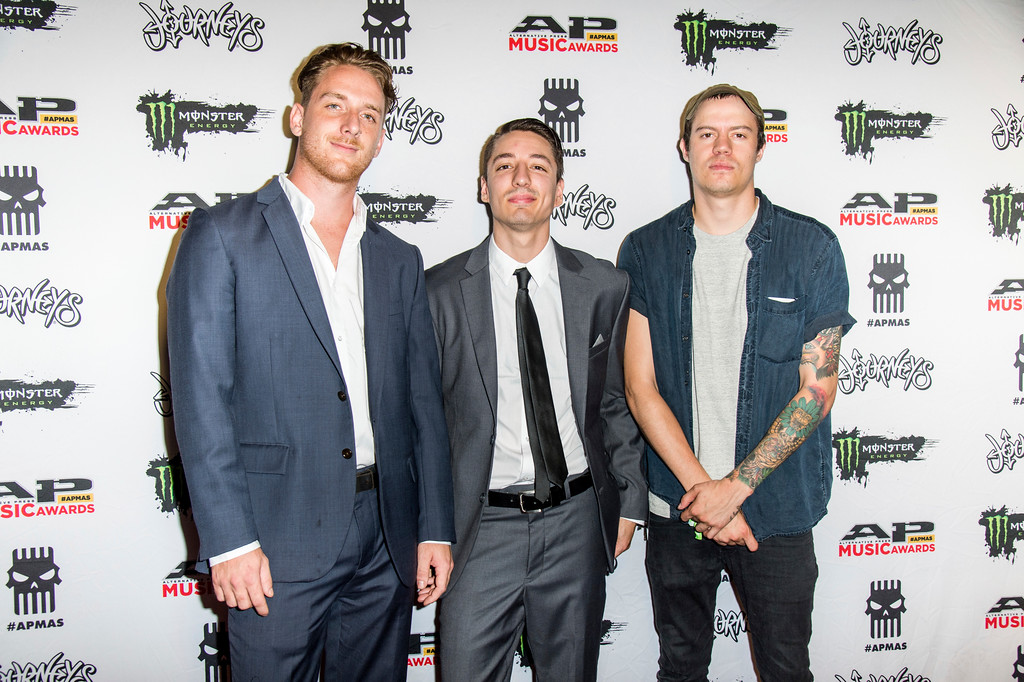 . Josh Childress, from left, Ethan Yoder and Landon Tewers of The Plot in You seen at 2017 Alternative Press Music Awards at the KeyBank State Theatre on Monday, July 17, 2017, in Cleveland. (Photo by Amy Harris/Invision/AP)