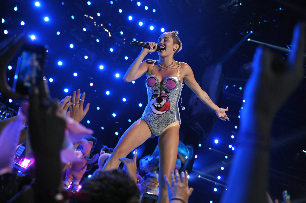 . This image released by MTV shows Miley Cyrus performing at the MTV Video Music Awards at Barclays Center on Sunday, Aug. 25, 2013, in the Brooklyn borough of New York. (AP Photo/MTV, John Shearer)