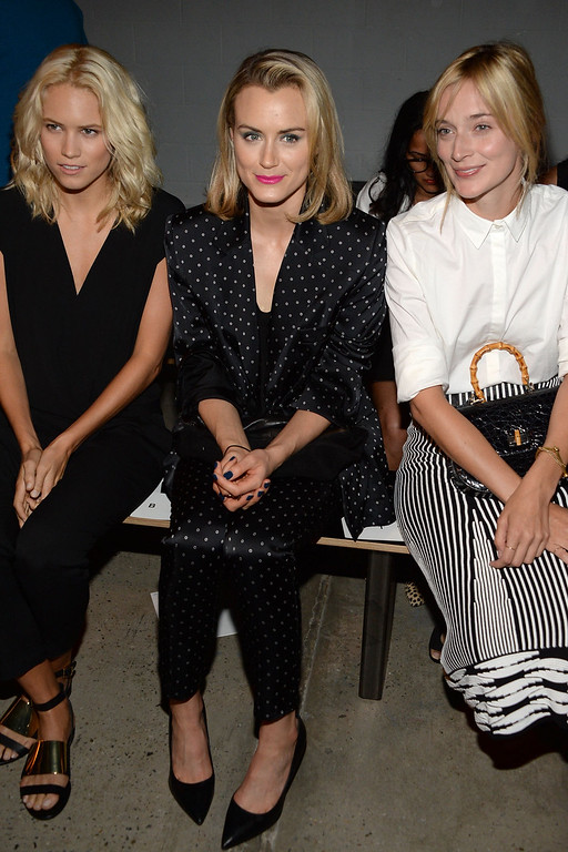 . (L-R) Cody Horn, Taylor Schilling and Caitlin Fitzgerald attend the Thakoon Fashion Show during Mercedes-Benz Fashion Week Spring 2015 at SIR Stage 37 on September 7, 2014 in New York City.  (Photo by Ben Gabbe/Getty Images)