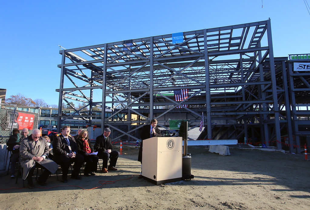 . Town manager John Curran speaks at the topping-off ceremony for the new Billerica Memorial High School.  (SUN/Julia Malakie)