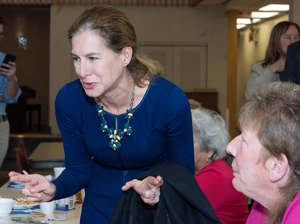 10/30/18 Wesley Bunnell | Staff Democratic candidate for Lt. Governor Susan Bysiewicz chats with seniors at the New Britain Senior Center during a visit by Democratic candidates for state office.