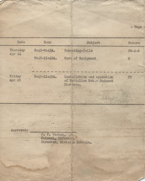 Weekly Schedule FA Training School April 26 1941  1st half of page 2