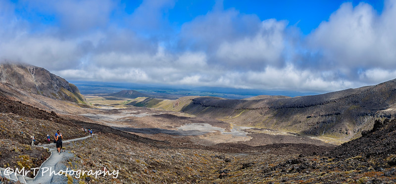 Looking back at Mangatepopo Valley from the Devil's Staircase Togariro Crossing