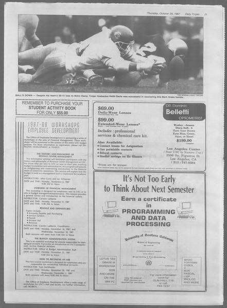 Daily Trojan, Vol. 105, No. 40, October 29, 1987