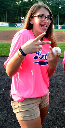 8/2/2018 Mike Orazzi | Staff Bristol Blues' Alyssa Masi at Muzzy Field during Pink Night Thursday evening.