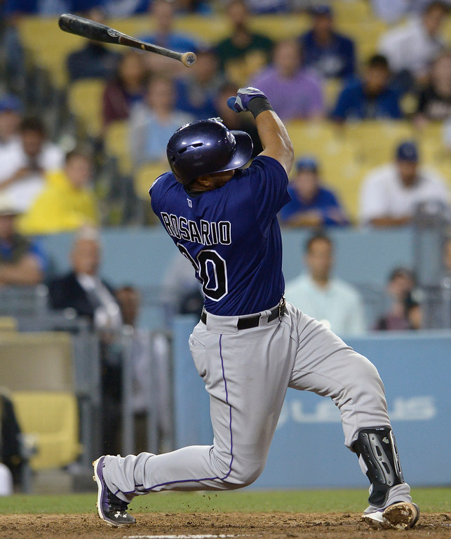 . Rockies Willin Rosario looses his bat in the 9th inning. The Dodgers defeated the Colorado Rockies at 4-2 Dodger Stadium in Los Angeles, CA. 6/18/2014(Photo by John McCoy Daily News)