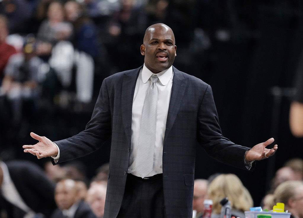 . Indiana Pacers head coach Nate McMillan argues a call during the second half of an NBA basketball game against the Cleveland Cavaliers, Friday, Jan. 12, 2018, in Indianapolis. (AP Photo/Darron Cummings)