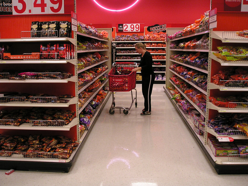 Target aisle 2 of Halloween candy. (And this is just one store out of zillions selling cavities and obesity!)