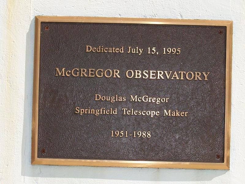 The plaque at McGregor Observatory.