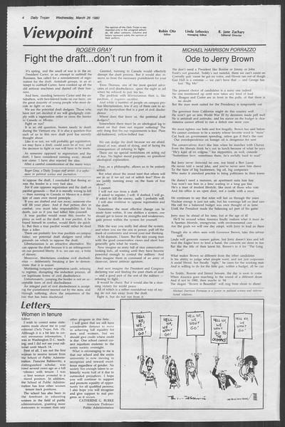 Daily Trojan, Vol. 88, No. 36, March 26, 1980