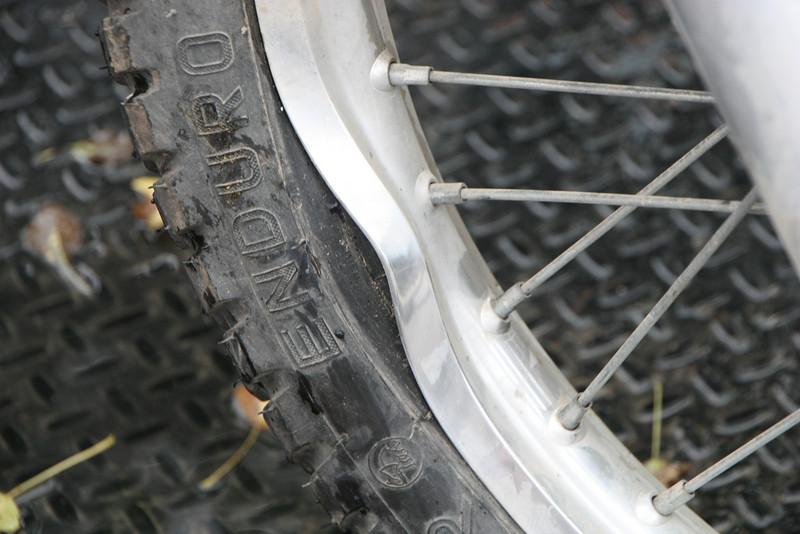 Don's crash bent the front rim.