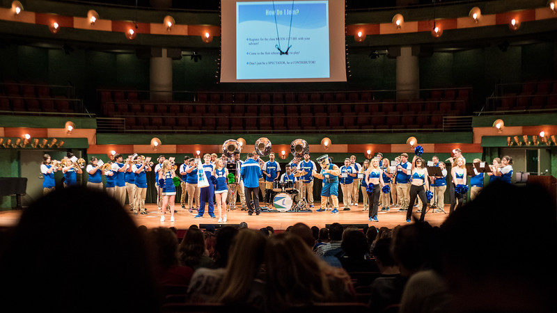 The Islander Pep Band gives Island Day visitors a grand welcome in the Performing Arts Center.