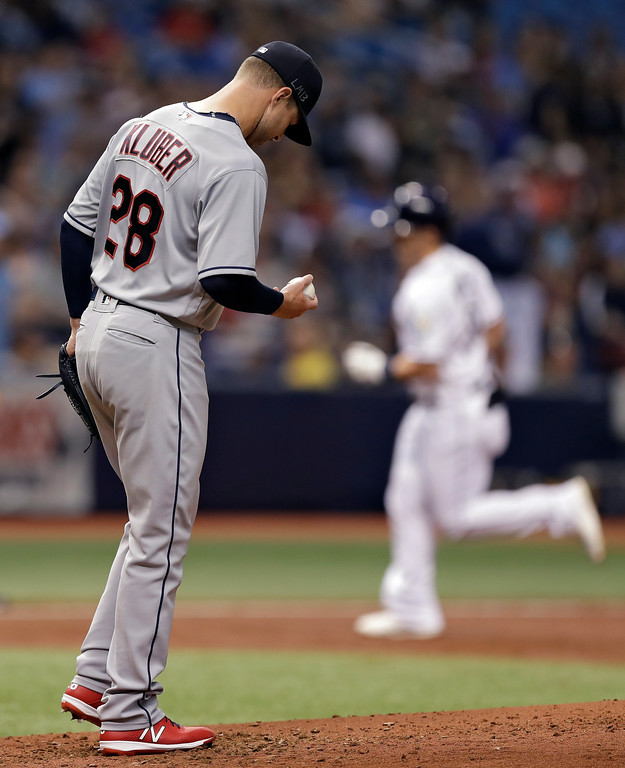 . Cleveland Indians pitcher Corey Kluber reacts as Tampa Bay Rays\' Jake Bauers, right, runs around the bases after Bauers hit a two-run home run during the second inning of a baseball game Monday, Sept. 10, 2018, in St. Petersburg, Fla. (AP Photo/Chris O\'Meara)