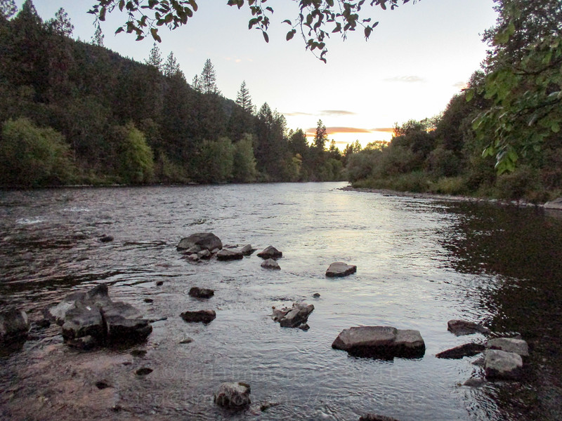Sunset at the confluence of Elk Creek and Rogue River.