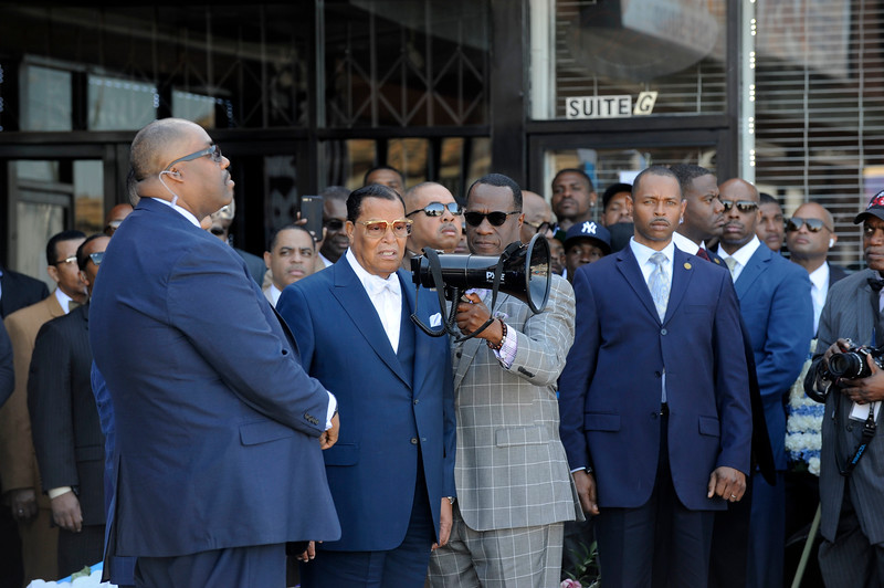 MINISTER LOUIS FARRAKHAN CAME ON SLAUSON & CRENSHAW TO SHOW HOMAGE FOR NIPSY HUSSLE WHOSE MEMORIAL SERVICE WILL BE HELD AT THE STAPLE CENTER ON APRIL 11, 2019. THERE WILL BE A PROCESSION THROUGH THE CITY OF LOS ANGELES IMMEDIATELY FOLLOWING. PHOTOGRAPHER VALERIE GOODLOE