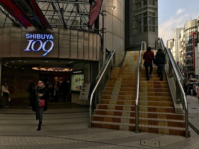 The staircase leading to the second floor of Shibuya 109. Apparently, the line stretches down the staircase.