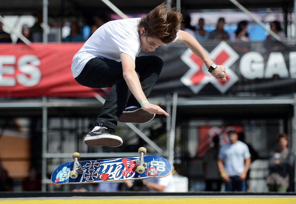 . Yuri Facchini during the  X Games Los Angeles Red Bull Phenom Skateboard Street at LA Live Friday, August 2, 2013. (Hans Gutknecht/Los Angeles Daily News)