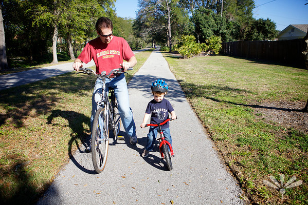 Jay learning to ride his push bike
