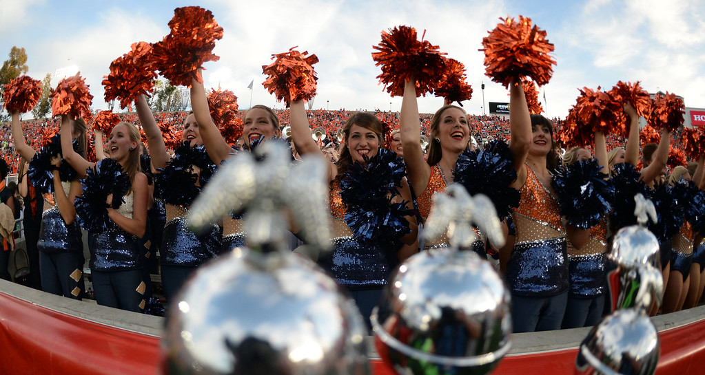 . Auburn cheerleaders prior to the BCS National Championship game against Florida State at the Rose Bowl in Pasadena, Calif., on Monday, Jan. 6, 2014. 