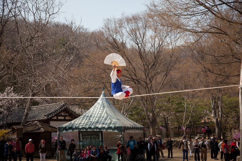 Highwire act performing at the Korean Folk Village in Yongin, South Korea.