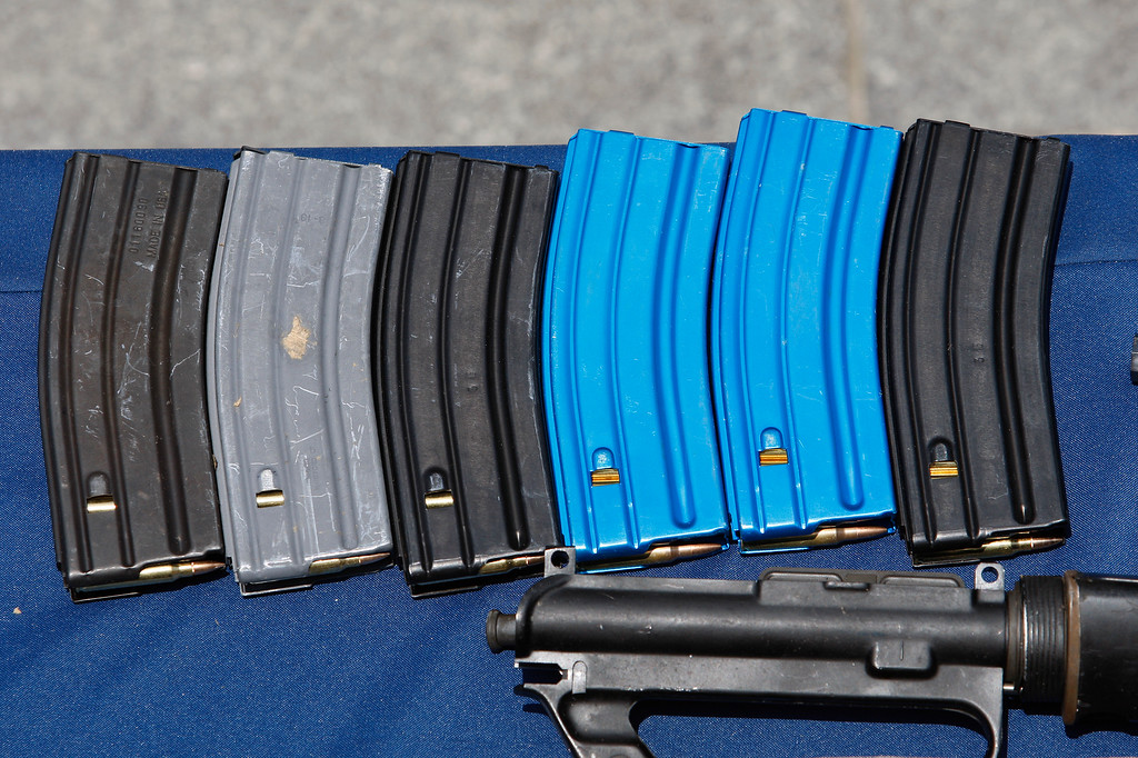 . SANTA MONICA, CA - JUNE 08:  Ammunition magazines allegedly dropped by a gunman during a mass shooting spree at Santa Monica College are displayed at the Santa Monica Police Department headquarters on June 8, 2013 in Santa Monica, California.   (Photo by David McNew/Getty Images)