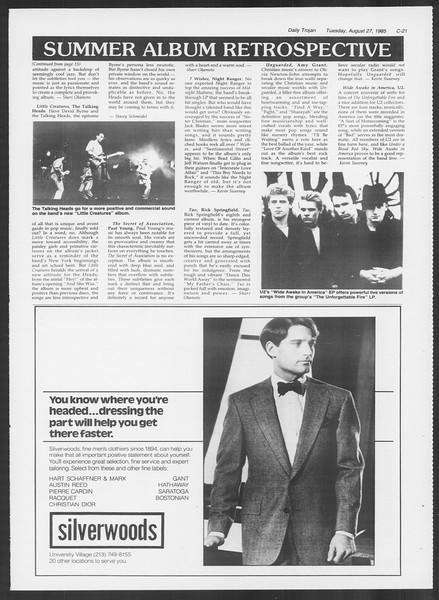 Daily Trojan, Vol. 100, No. 1, August 27, 1985