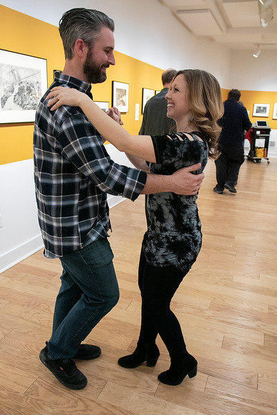 The first winter learn to dance salsa was held at the Fitchburg Art Museum on Friday night, Jan. 24, 2020. Having a lot of fun in the class is Jared Bourbeau and Danielle Bourbeau from Phillipston. SENTINEL & ENTERPRISE/JOHN LOVE