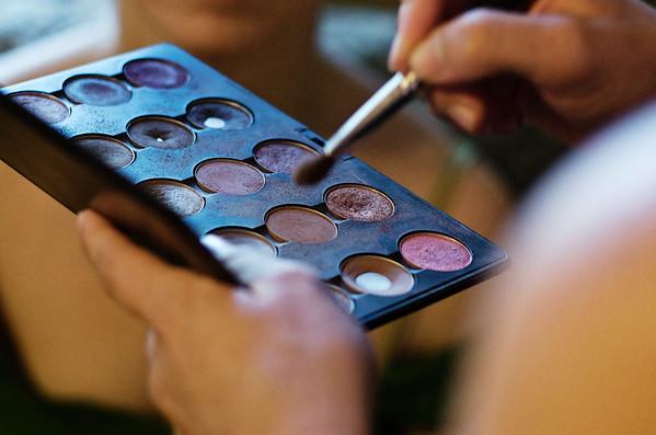 Closeup of makeup tray